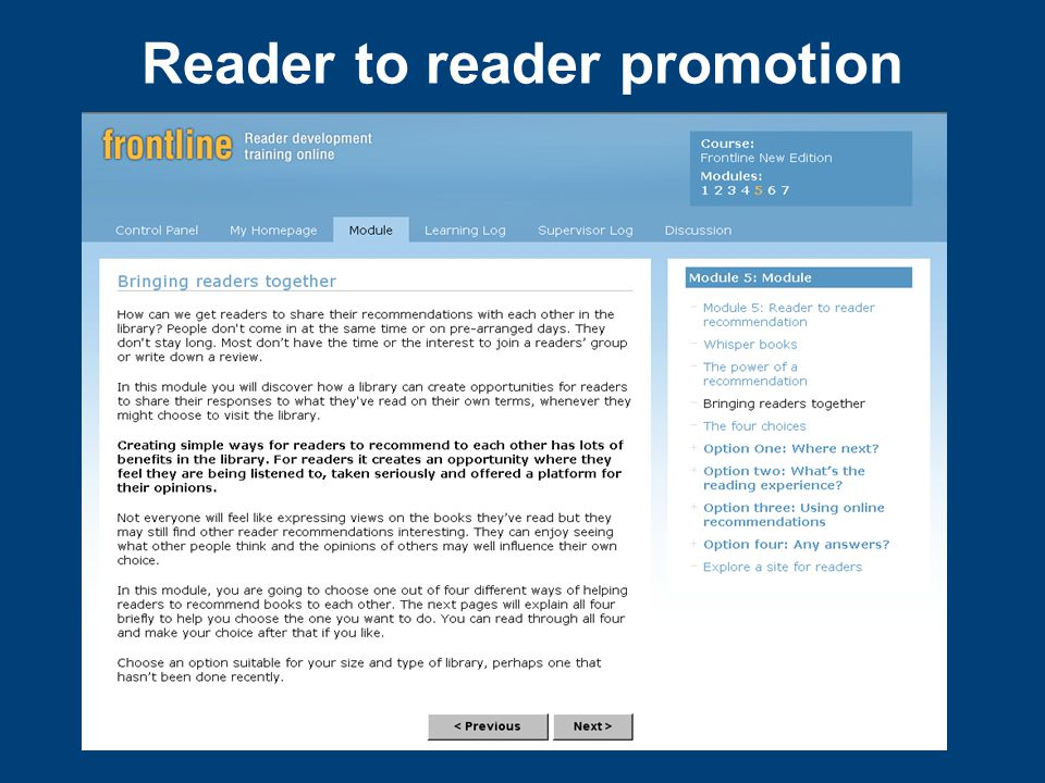 Reader to reader promotion