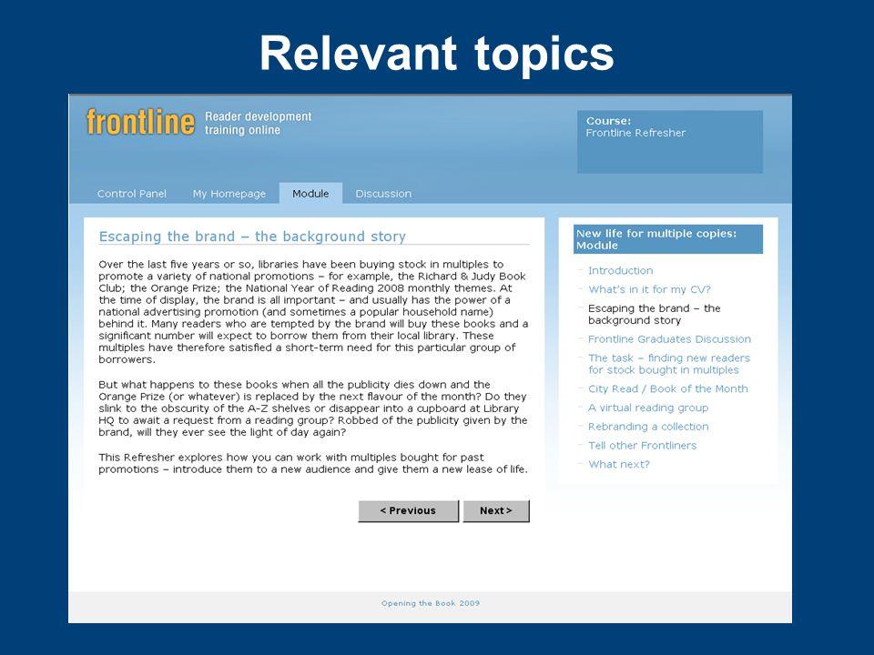 Relevant topics