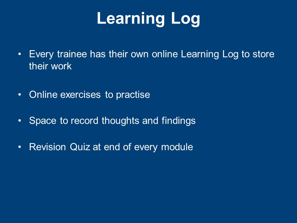 Learning Log sample page