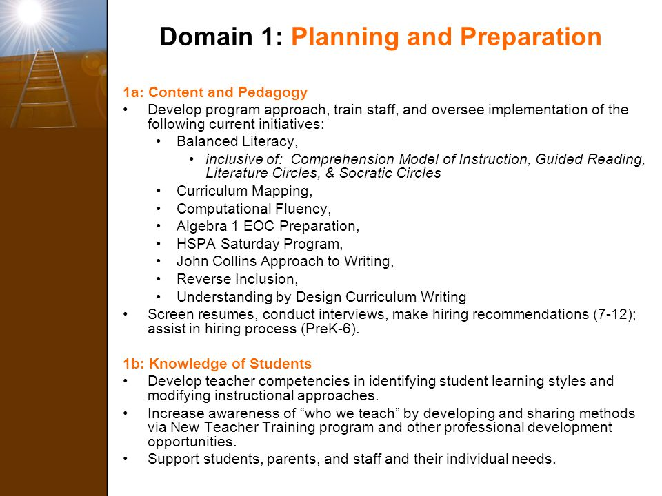 Domain 1: Planning and Preparation 1a: Content and Pedagogy Develop program approach, train staff, and oversee implementation of the following current