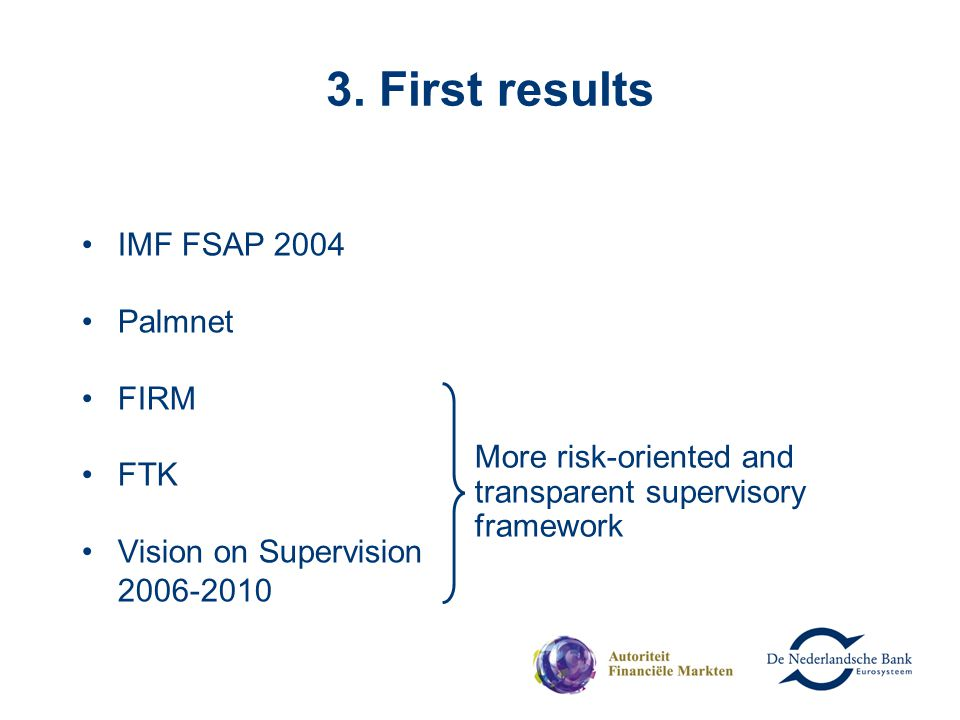 3. First results IMF FSAP 2004 Palmnet FIRM FTK Vision on Supervision 2006-2010 More risk-oriented and transparent supervisory framework