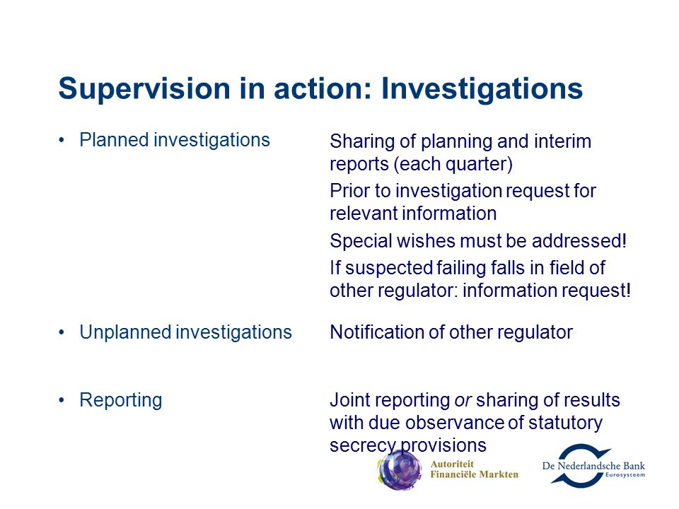 Supervision in action: Investigations Planned investigations Sharing of planning and interim reports (each quarter) Prior to investigation request for