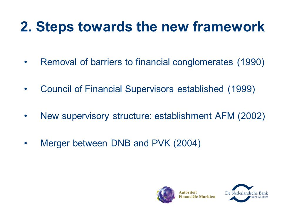 2. Steps towards the new framework Removal of barriers to financial conglomerates (1990) Council of Financial Supervisors established (1999) New super