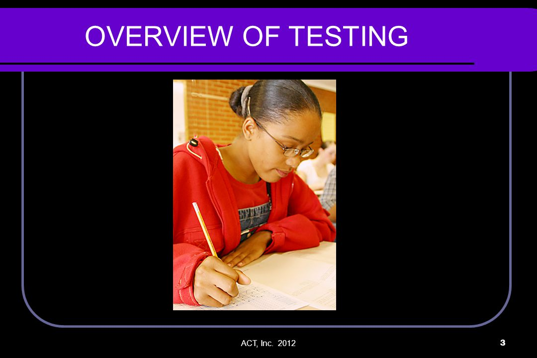 ACT, Inc. 20123 OVERVIEW OF TESTING