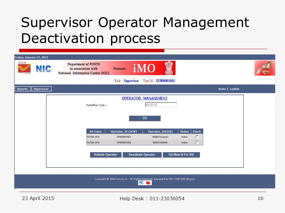 23 April 201516 Supervisor Operator Management Deactivation process Help Desk : 011-23036054