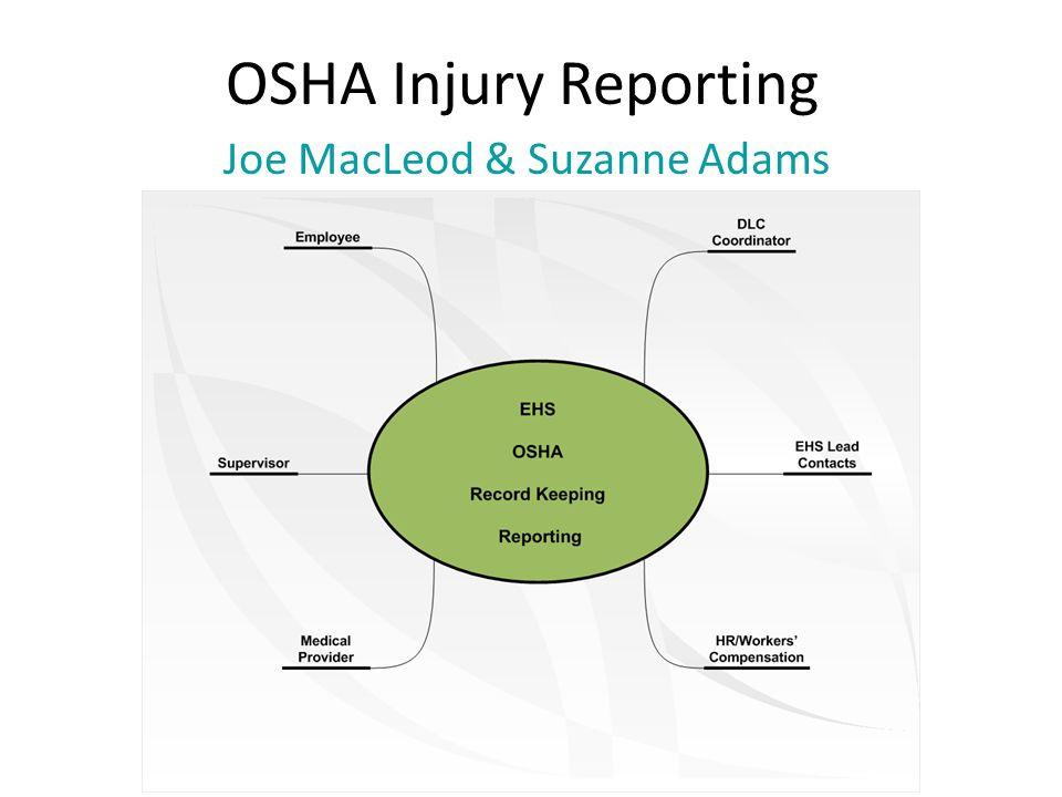 OSHA Injury Reporting Joe MacLeod & Suzanne Adams