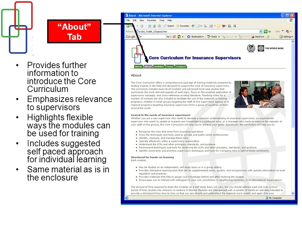 Provides further information to introduce the Core Curriculum Emphasizes relevance to supervisors Highlights flexible ways the modules can be used for training Includes suggested self paced approach for individual learning Same material as is in the enclosure About Tab