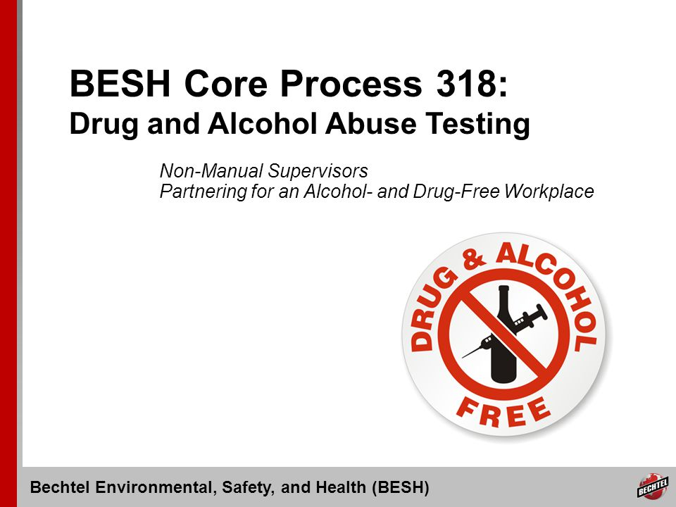 Bechtel Environmental, Safety, and Health (BESH) Slide 12 Behavioral Effects of Substance Abuse Drop in attendance or performance Poor motivation or lack of energy Slowed reaction time Impaired coordination Slowed or slurred speech Irritability Excessive talking Inability to sit still Limited attention span