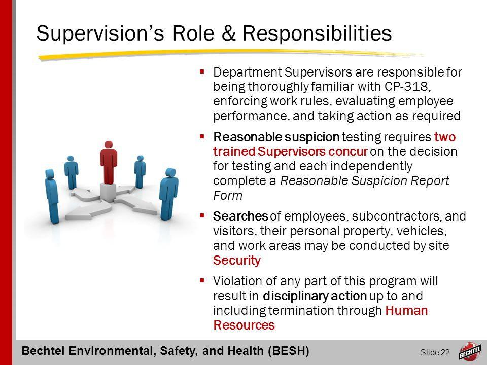 Bechtel Environmental, Safety, and Health (BESH) Slide 22 Supervision's Role & Responsibilities  Department Supervisors are responsible for being tho