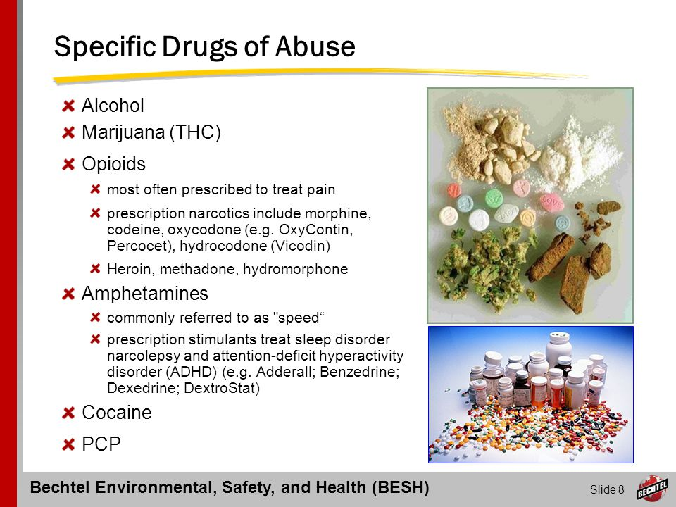 Bechtel Environmental, Safety, and Health (BESH) Slide 19 Testing for Drug & Alcohol Abuse  Testing Program essentials derived from 2 sources: 1.Bechtel Policies – HR Policy 409 (Redbook) A401-1 (Greenbook) and Principal 300 (Becon) 2.ES&H CP-318 – Drug and Alcohol Testing  Testing procedures include: 1.Pre-employment screening 2.Reasonable suspicion testing 3.Post-accident (work-related) testing 4.Random testing 5.Unannounced follow-up testing for previous positives 6.Compliance with a recognized standard