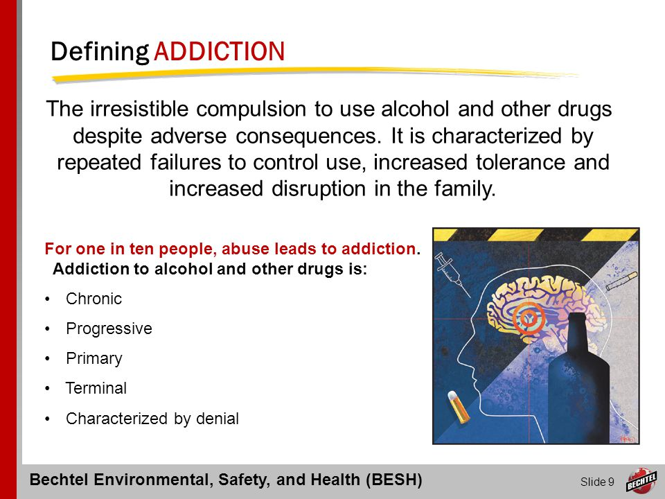 Bechtel Environmental, Safety, and Health (BESH) Slide 20 Employee Responsibilities Outlined in CP-318 Report to work free of the influence of drug or alcohol Consent to testing as established in CP-318 Comply with work rules regarding submission of documentation Review medications with personal physician to ensure safety Notify supervisor in writing of any criminal drug arrests, as may be required by client organizations