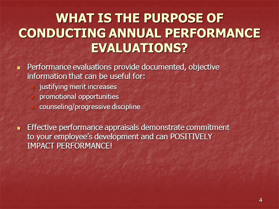 5 PERFORMANCE EVALUATION PROCESS GUIDELINES SUMMARY Supervisors are encouraged to review the complete Guidelines for the Performance Evaluation Process and Goal Setting located at: http:hr.ua.edu/empl_rel/perf-eval- guidelines.htm Supervisors are encouraged to review the complete Guidelines for the Performance Evaluation Process and Goal Setting located at: http:hr.ua.edu/empl_rel/perf-eval- guidelines.htm In summary: In summary: Annual performance evaluations to include the establishment of goals and objectives should be completed for each staff employee Supervisors should review all performance evaluations prepared by supervisors reporting to him/her PRIOR to the performance appraisal meeting The evaluation period is from June 1 st - May 31 st Employees in their introductory period are not issued an annual evaluation but will have a six month introductory review completed at the appropriate time Goal planning should be conducted with all employees