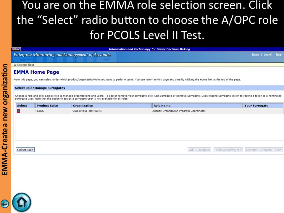 You are on the EMMA role selection screen.