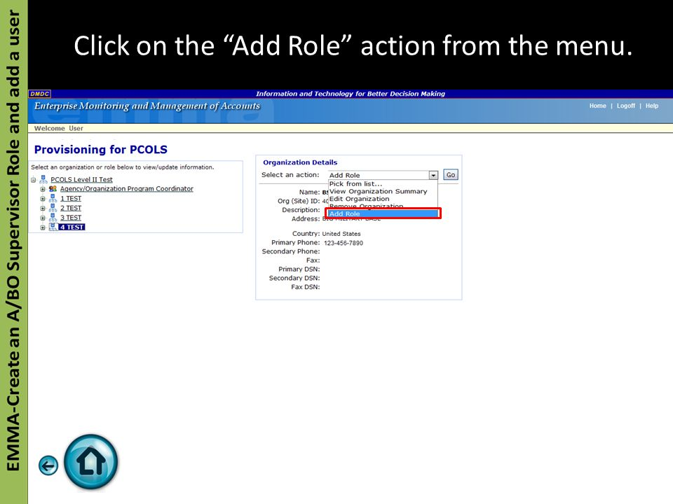 """Click on the """"Add Role"""" action from the menu."""