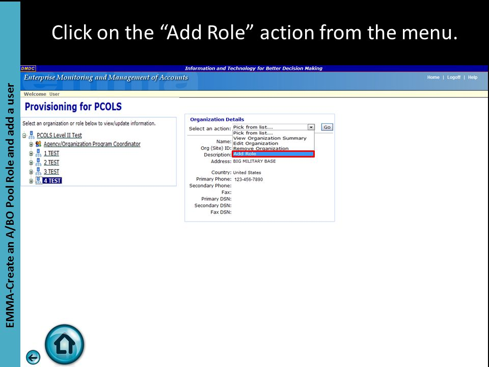 """Click on the """"Add Role"""" action from the menu. EMMA-Create an A/BO Pool Role and add a user"""