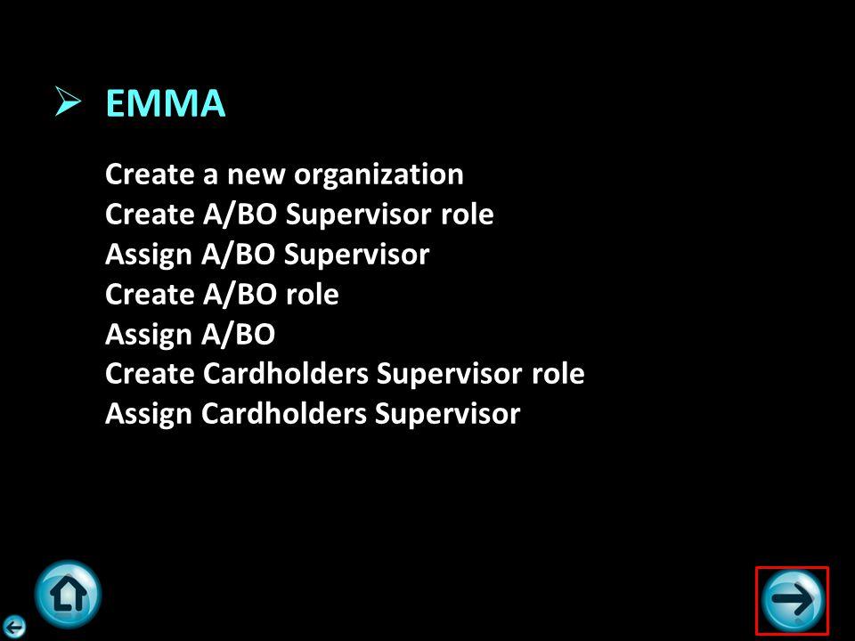  EMMA Create a new organization Create A/BO Supervisor role Assign A/BO Supervisor Create A/BO role Assign A/BO Create Cardholders Supervisor role As