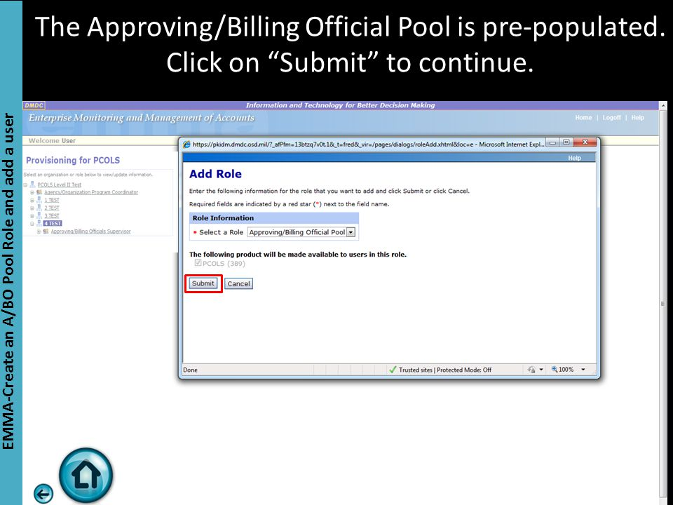 The Approving/Billing Official Pool is pre-populated.