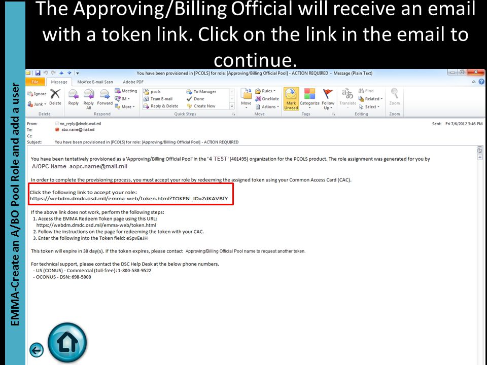 The Approving/Billing Official will receive an email with a token link.