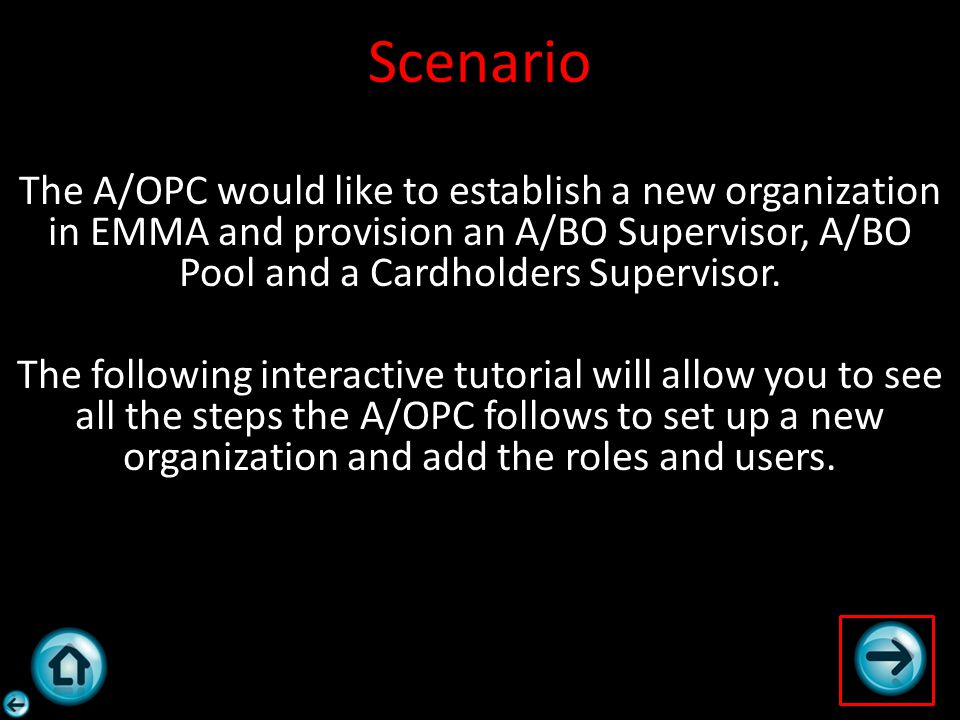 Scenario The A/OPC would like to establish a new organization in EMMA and provision an A/BO Supervisor, A/BO Pool and a Cardholders Supervisor. The fo