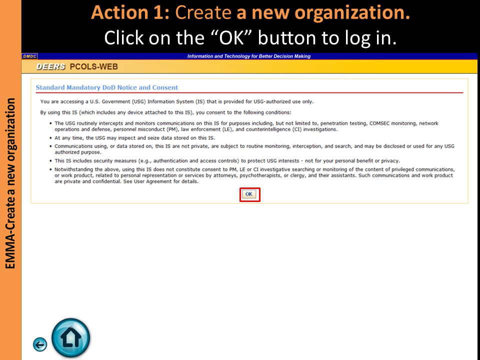 Step 1 is complete. New organization 4 Test has been created. Click on the arrow to continue.
