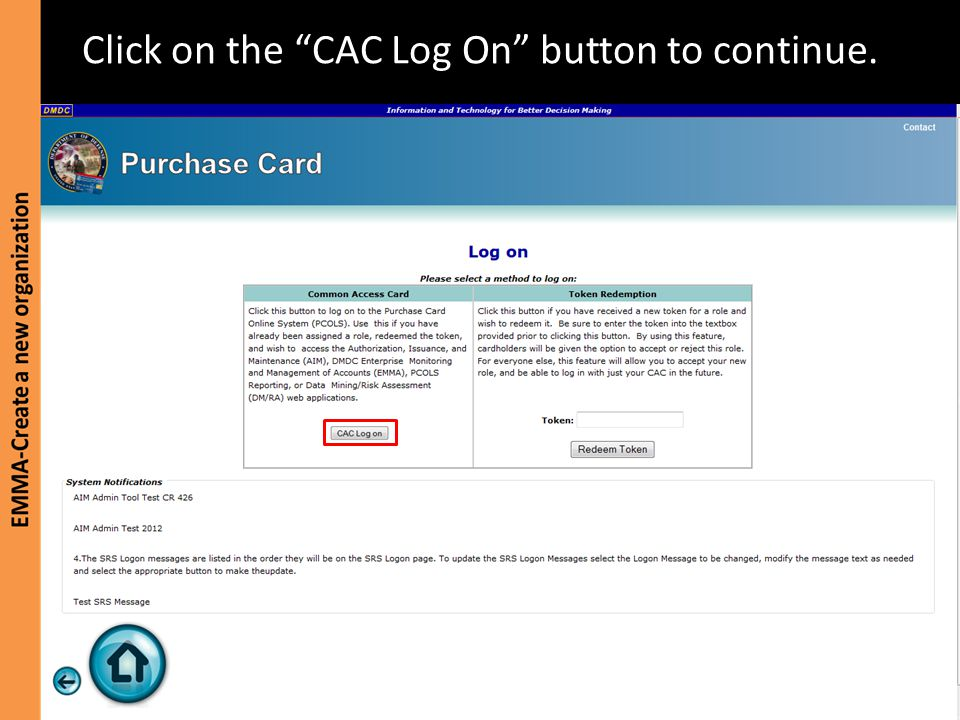 """Click on the """"CAC Log On"""" button to continue."""