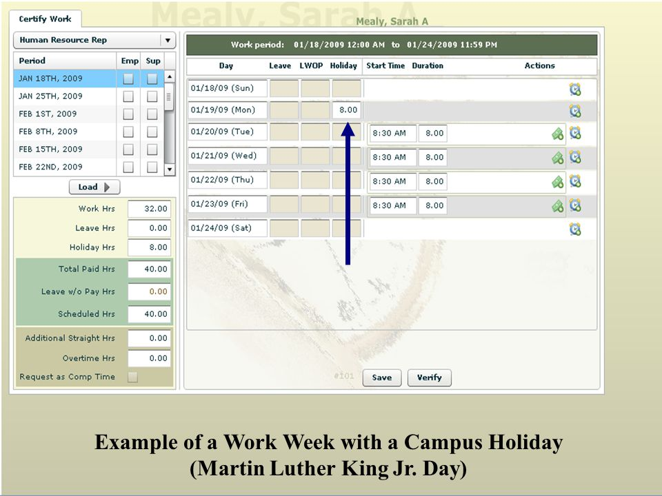 Example of a Work Week with a Campus Holiday (Martin Luther King Jr. Day)