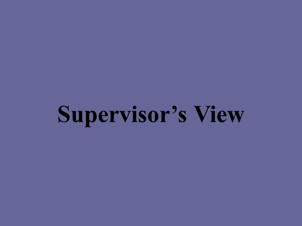 Supervisor's View