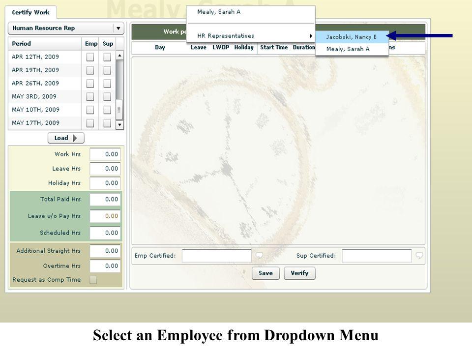 Select an Employee from Dropdown Menu