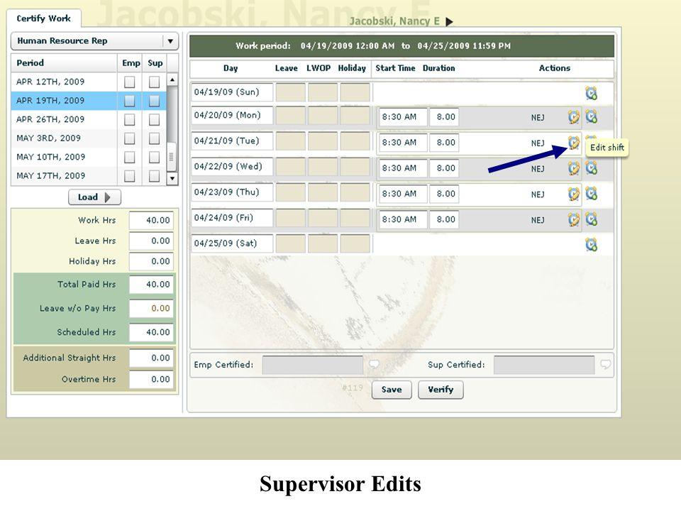 Supervisor Edits