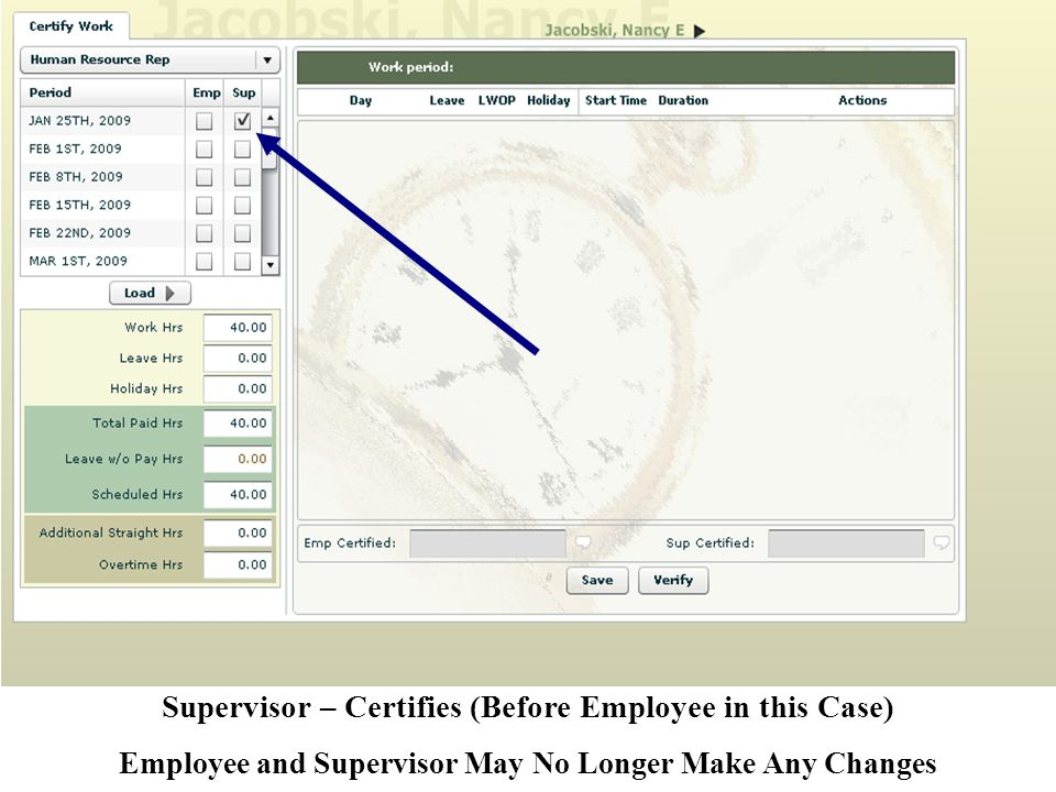 Supervisor – Certifies (Before Employee in this Case) Employee and Supervisor May No Longer Make Any Changes