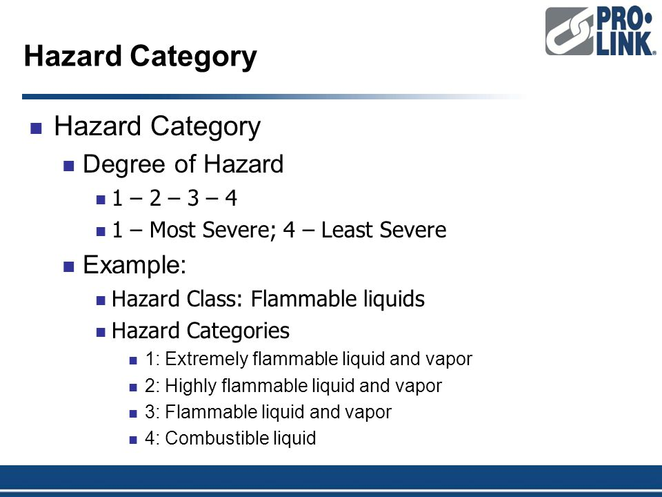 Hazard Category Degree of Hazard 1 – 2 – 3 – 4 1 – Most Severe; 4 – Least Severe Example: Hazard Class: Flammable liquids Hazard Categories 1: Extremely flammable liquid and vapor 2: Highly flammable liquid and vapor 3: Flammable liquid and vapor 4: Combustible liquid