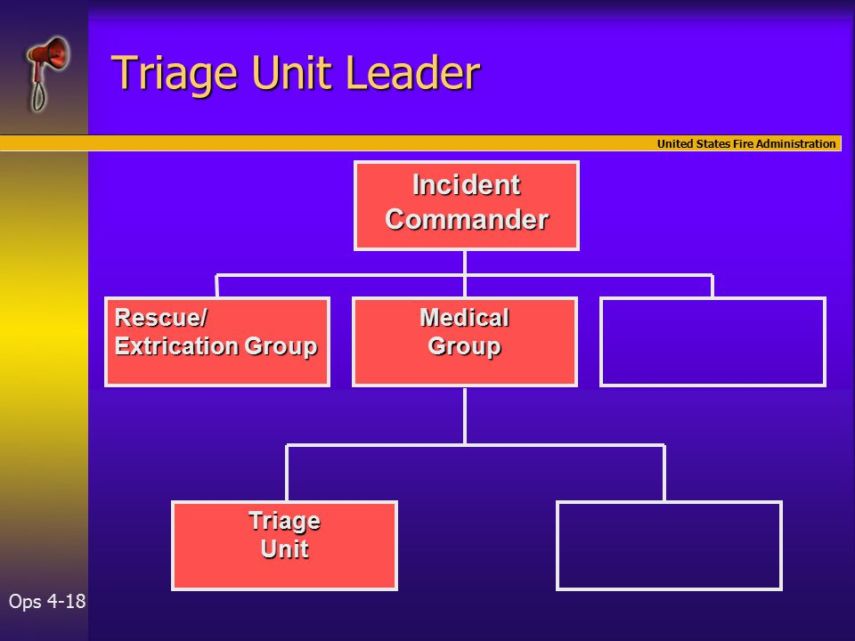United States Fire Administration Ops 4-18 IncidentCommander Rescue/ Extrication Group MedicalGroup TriageUnit Triage Unit Leader