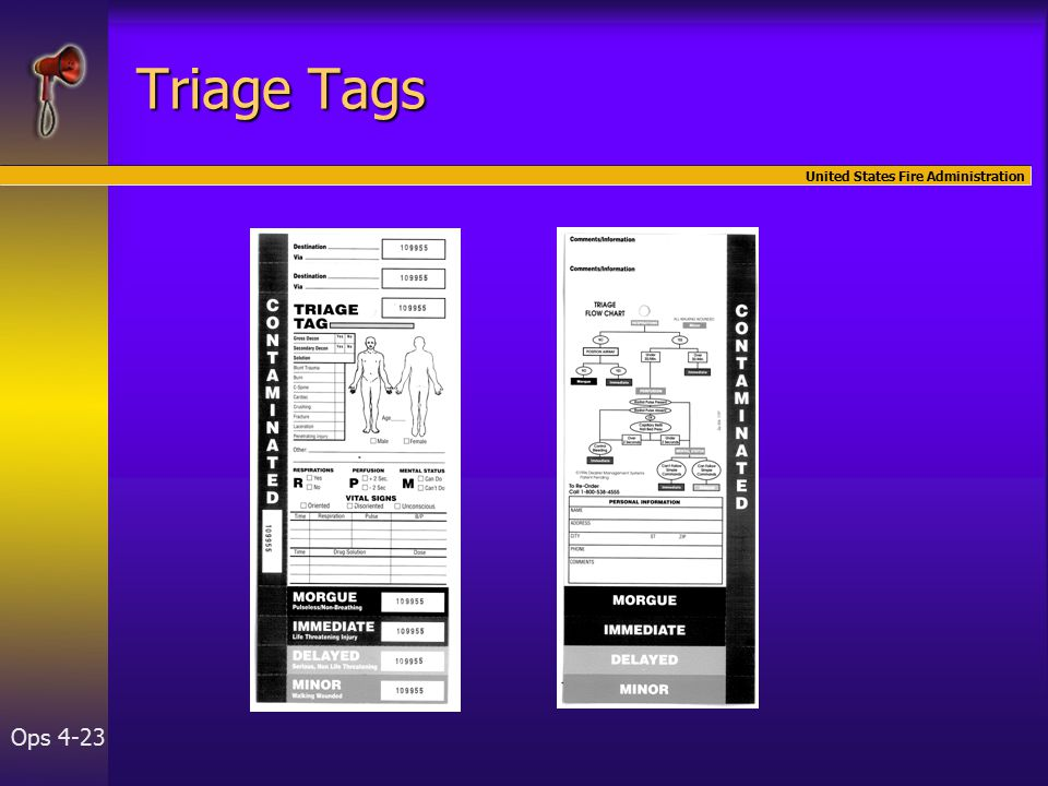 United States Fire Administration Ops 4-23 Triage Tags