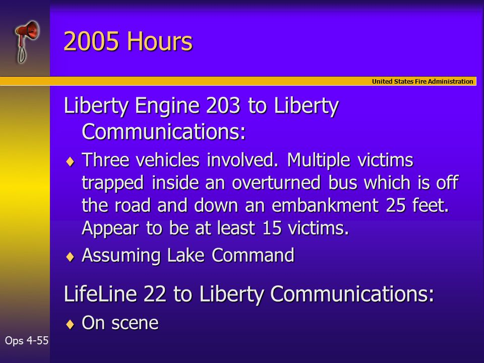 United States Fire Administration Ops Hours Liberty Engine 203 to Liberty Communications:  Three vehicles involved.