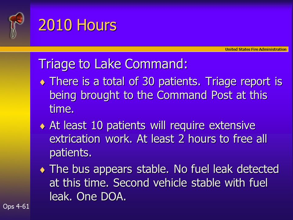 United States Fire Administration Ops Hours Triage to Lake Command:  There is a total of 30 patients.