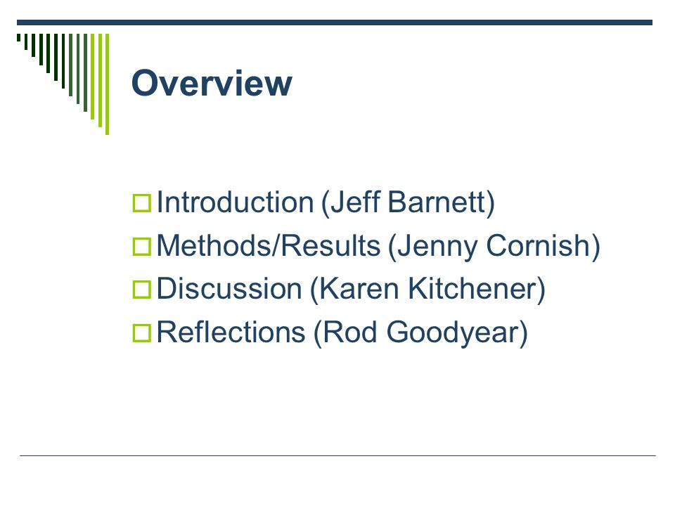 Overview  Introduction (Jeff Barnett)  Methods/Results (Jenny Cornish)  Discussion (Karen Kitchener)  Reflections (Rod Goodyear)