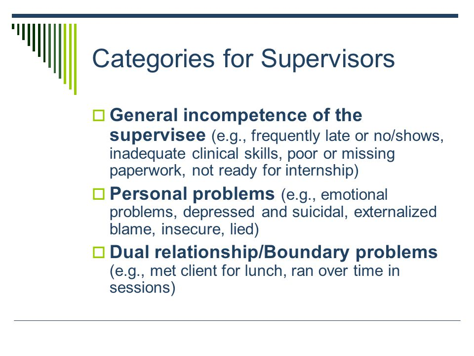 Categories for Supervisors  General incompetence of the supervisee (e.g., frequently late or no/shows, inadequate clinical skills, poor or missing paperwork, not ready for internship)  Personal problems (e.g., emotional problems, depressed and suicidal, externalized blame, insecure, lied)  Dual relationship/Boundary problems (e.g., met client for lunch, ran over time in sessions)