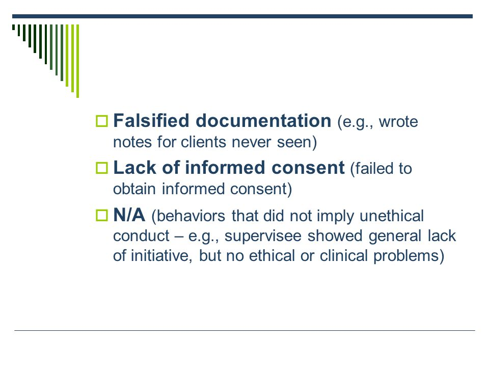  Falsified documentation (e.g., wrote notes for clients never seen)  Lack of informed consent (failed to obtain informed consent)  N/A (behaviors that did not imply unethical conduct – e.g., supervisee showed general lack of initiative, but no ethical or clinical problems)