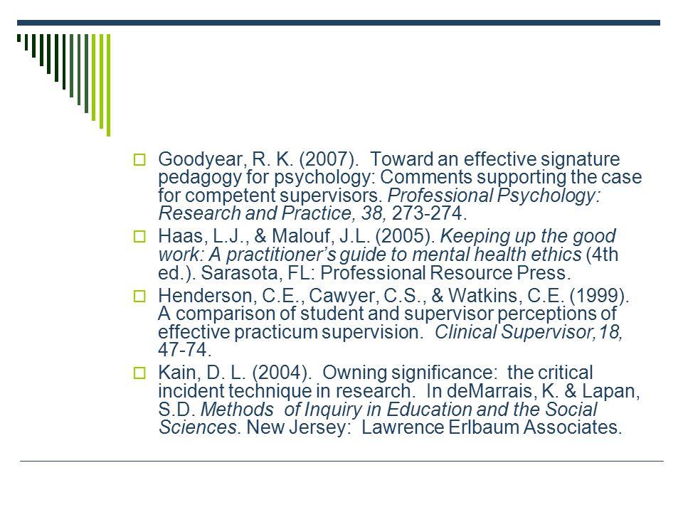  Goodyear, R. K. (2007).