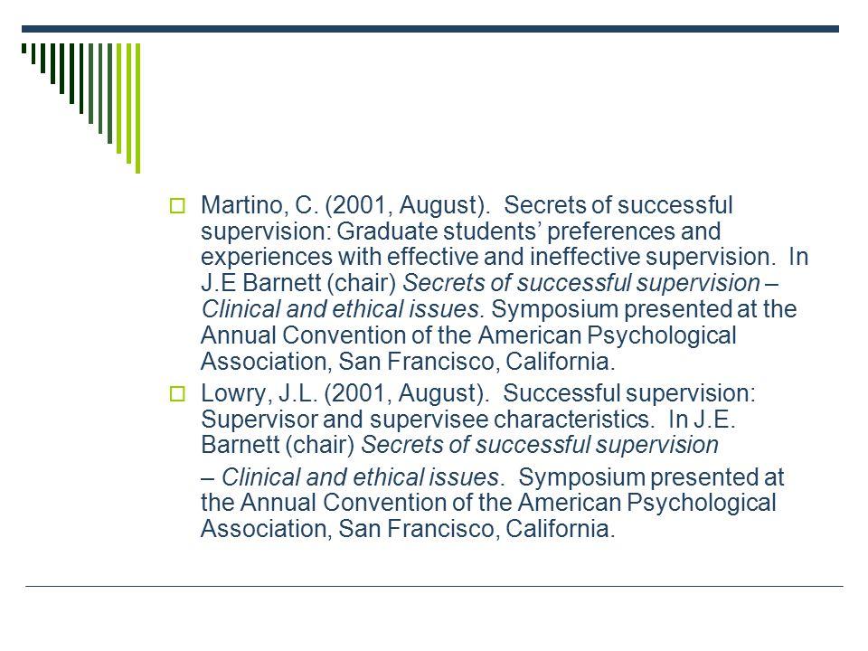  Martino, C. (2001, August).