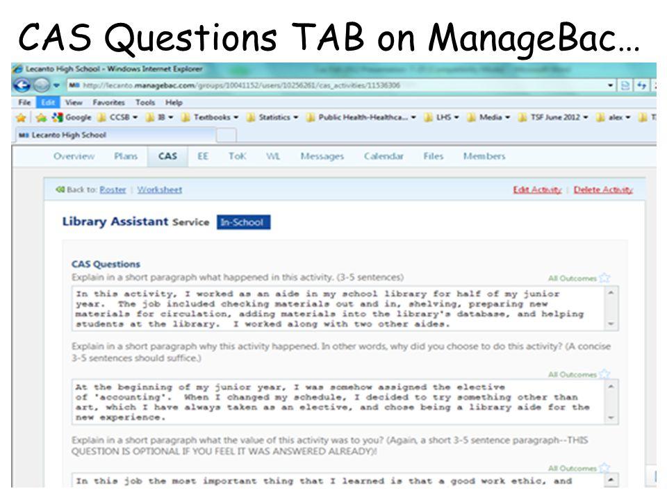 CAS Questions TAB on ManageBac…