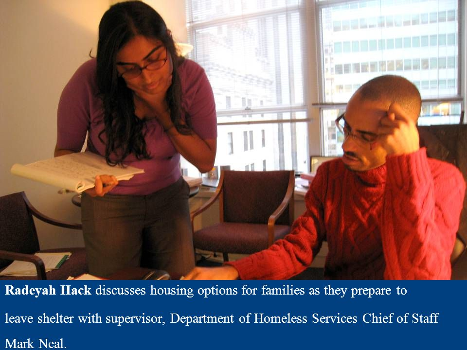 At the Human Resources Administration, Fellow Daniel Sanchez discusses poverty rates with his supervisor, Assistant Deputy Commissioner Angela Sheehan, with special focus on consumption and non-compliance with cash- assistance.