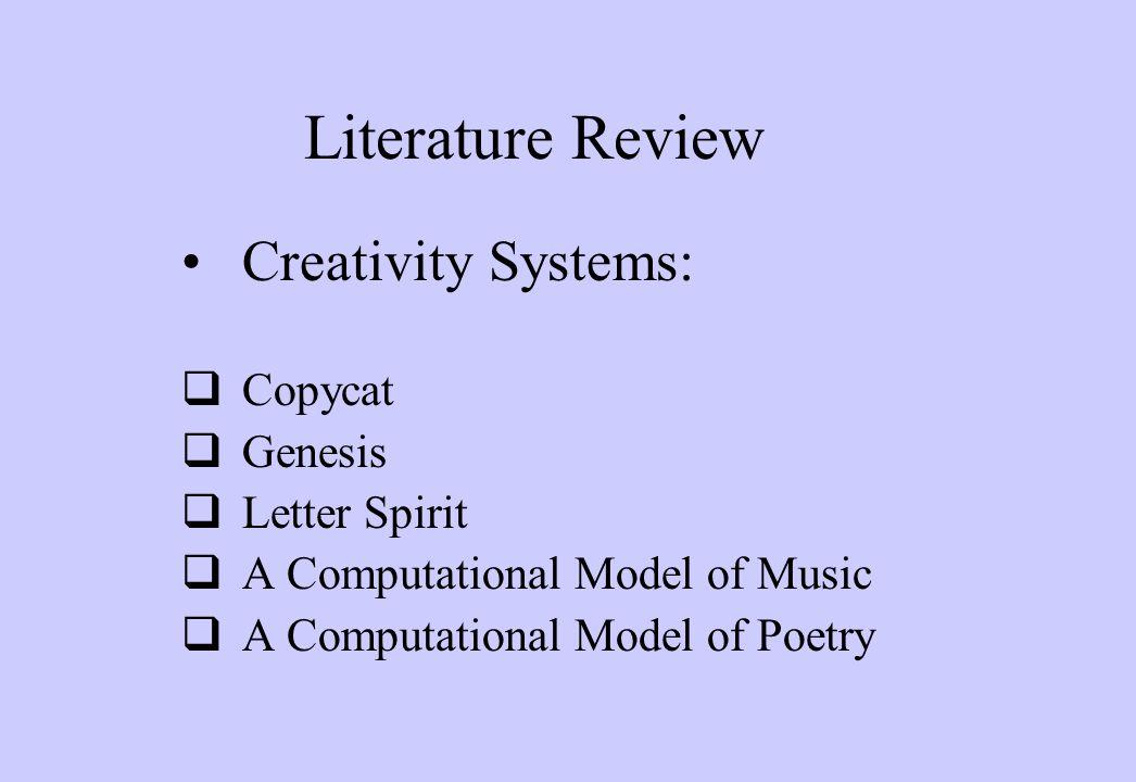 Literature Review Creativity Systems:  Copycat  Genesis  Letter Spirit  A Computational Model of Music  A Computational Model of Poetry