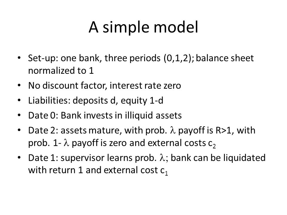 A simple model Set-up: one bank, three periods (0,1,2); balance sheet normalized to 1 No discount factor, interest rate zero Liabilities: deposits d, equity 1-d Date 0: Bank invests in illiquid assets Date 2: assets mature, with prob.