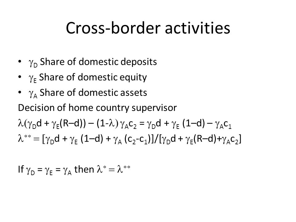 Cross-border activities  D Share of domestic deposits  E Share of domestic equity  A Share of domestic assets Decision of home country supervisor 