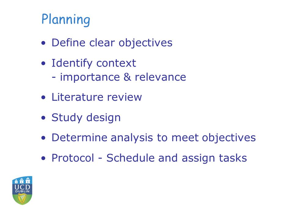 Planning Define clear objectives Identify context - importance & relevance Literature review Study design Determine analysis to meet objectives Protocol - Schedule and assign tasks