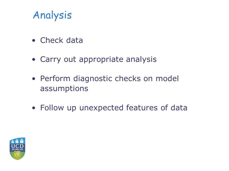 Analysis Check data Carry out appropriate analysis Perform diagnostic checks on model assumptions Follow up unexpected features of data
