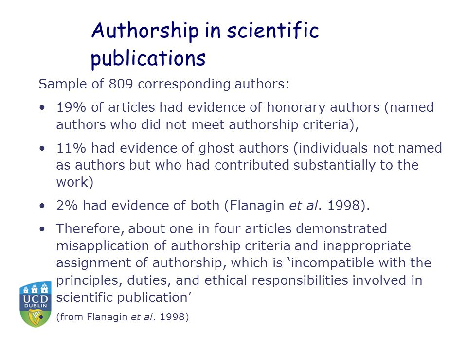 Authorship in scientific publications Sample of 809 corresponding authors: 19% of articles had evidence of honorary authors (named authors who did not