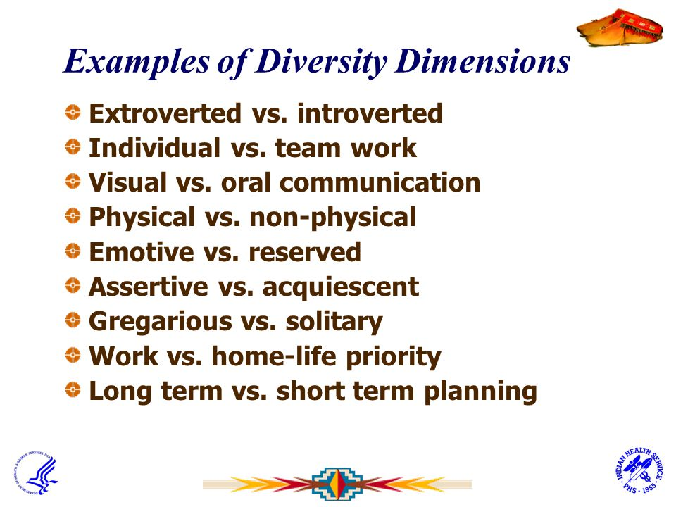 Examples of Diversity Dimensions Extroverted vs. introverted Individual vs. team work Visual vs. oral communication Physical vs. non-physical Emotive
