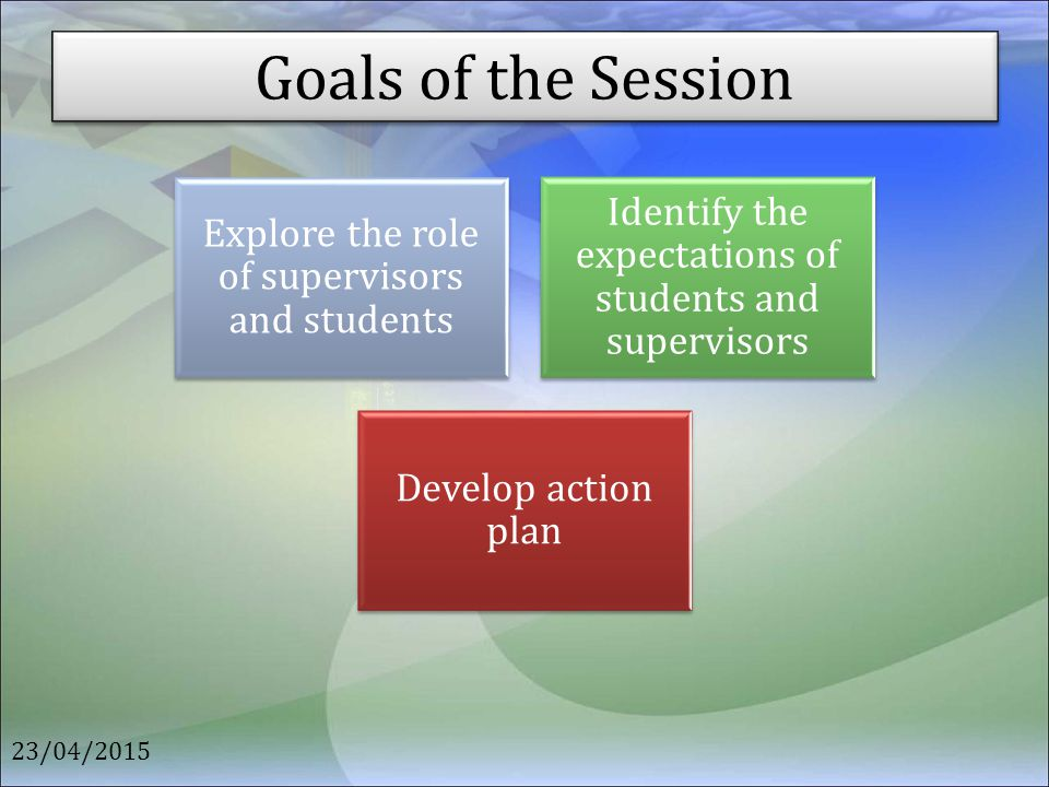 Goals of the Session 23/04/2015 Explore the role of supervisors and students Identify the expectations of students and supervisors Develop action plan
